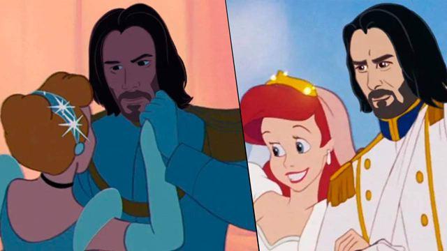 Una artista convierte a Keanu Reeves en el príncipe de 'La Cenicienta', 'Aladdin', 'La Sirenita' y de más clásicos Disney