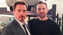 """Robert Downey Jr. felicita a Chris Evans con un """"beso en la mejilla"""" (y con un guiño al culo de América)"""