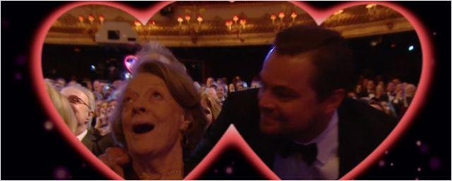 Leonardo DiCaprio, Maggie Smith, Bryan Cranston y más se besan en la 'kiss-cam' de los BAFTA