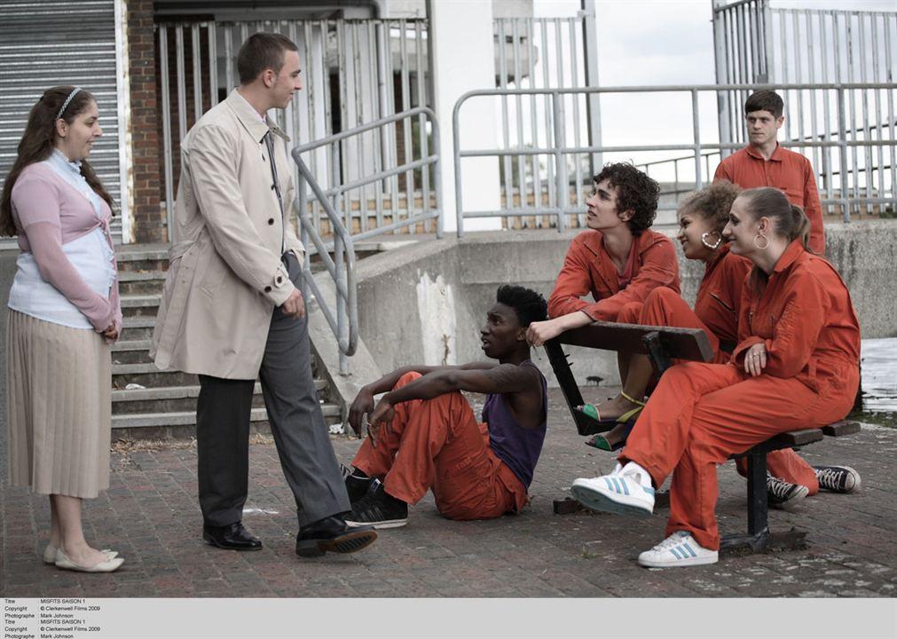 Misfits : Foto Antonia Thomas, Iwan Rheon, Lauren Socha, Nathan Stewart-Jarrett, Robert Sheehan